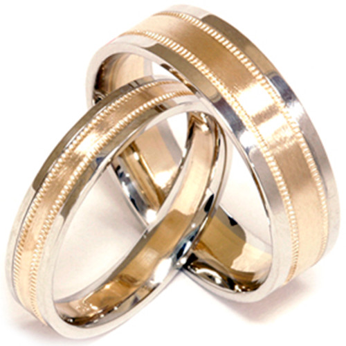 14k Gold Matching His Hers Comfort Fit Wedding Band Set