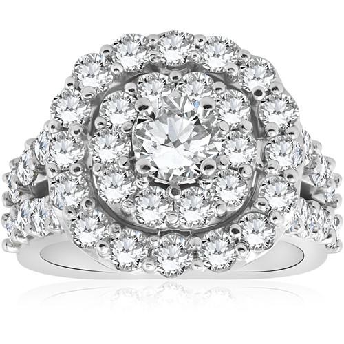 4CT Diamond Cushion Double Halo Engagement Ring 10k White Gold (H/I, I1-I2)