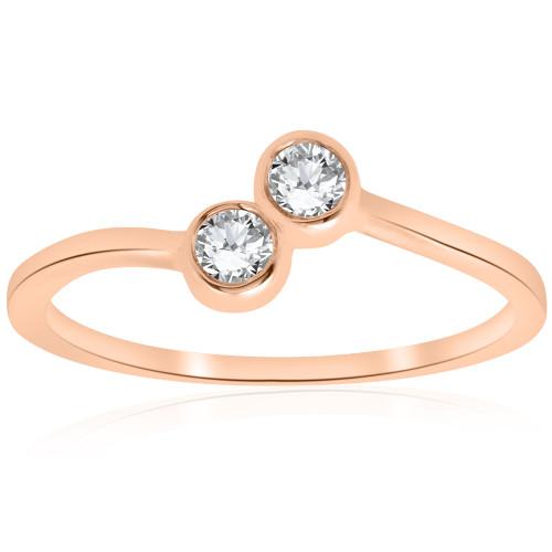 1/4CT Two Stone Diamond Solitaire Bezel Engagement Promise Ring 14k Rose Gold (H/I, I1-I2)