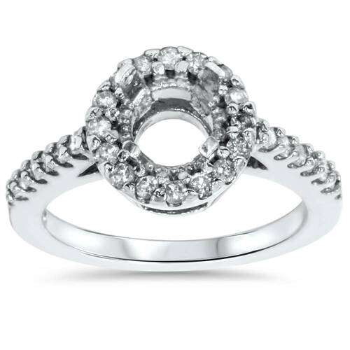 1/2ct SI Pave Halo Diamond Engagement Ring Setting 14K White Gold (G/H, SI)