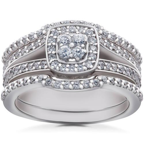 1ct TDW Cushion Halo Diamond Trio Engagement Guard Wedding Ring Set Gold (H/I, I1-I2)