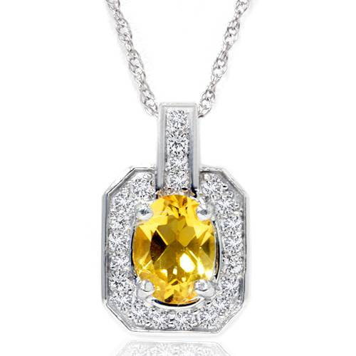 1 1/2ct Citrine & Diamond Solitaire Halo Pendant 14K White Gold (G, I1)
