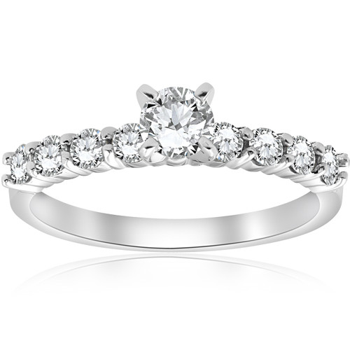 1 ct TDW Round Diamond Engagement Ring 14k White Gold (H/I, I2-I3)