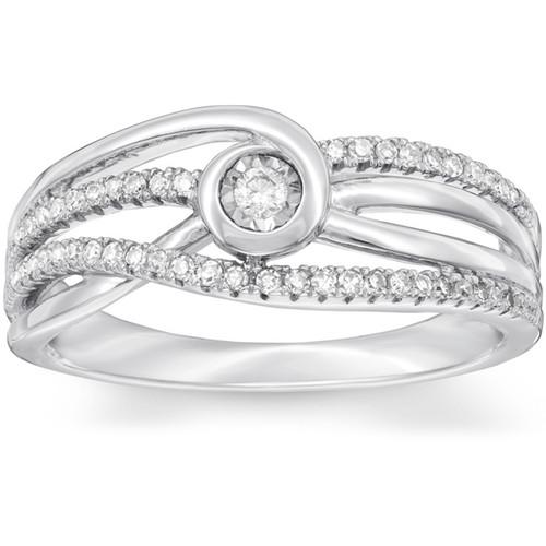 1 Ct Diamond Multi Row Diamond Woven Right Hand Ring 10k White Gold (H/I, I1-I2)
