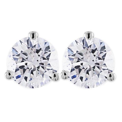 2 ct Round Solitaire Diamond Martini Studs 14k White Gold ((G-H), SI(1)-SI(2))