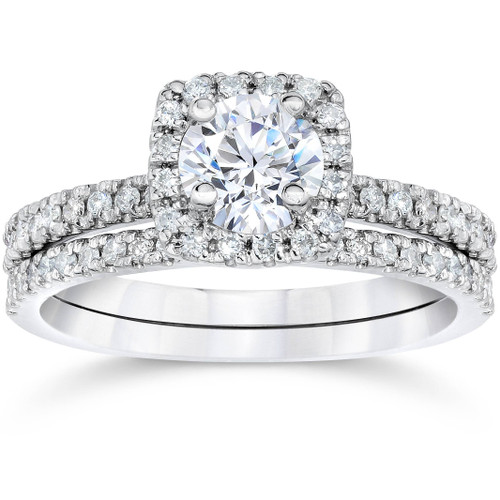 1 ct Diamond Cushion Halo Engagement Wedding Ring Set 10k White Gold (H/I, I1-I2)