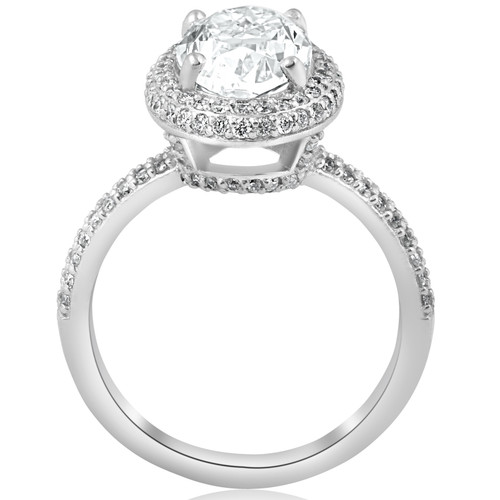 2 1/2ct Oval Diamond Pave Halo Engagement Ring 14k White Gold ((G-H), SI(1)-SI(2))
