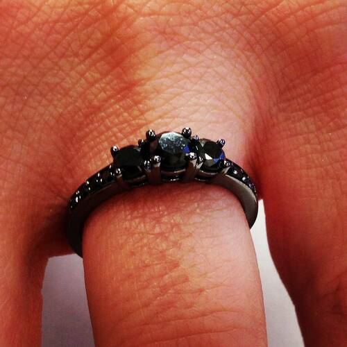 1 1/5ct Heat Treated Black Diamond 3 Stone Ring 10K Black Gold (Black, I3)