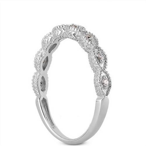 1/2ct Vintage Treated Blue & White Diamond Engagement Ring Set 14K White Gold (G/H, I1-I2)