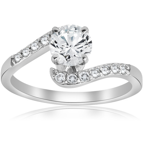 1 CT Diamond Engagement Curve Ring 14k White Gold ((F), SI(1)-SI(2))