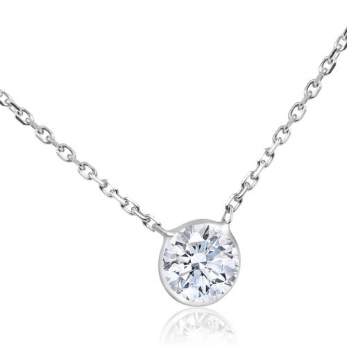 """1CT Diamond Solitaire Bezel Pendant 14k White Gold 18"""" Enhanced (G, SI)"""