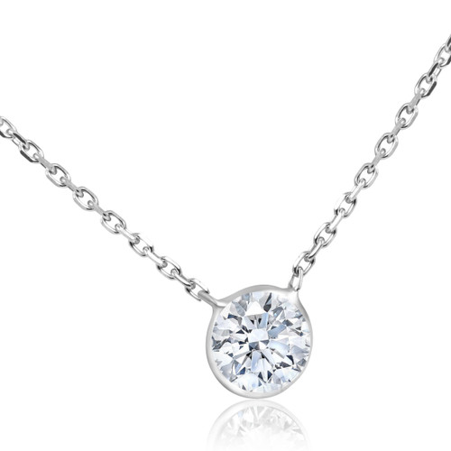 "1 1/4 CT Diamond Solitaire Bezel Pendant 14k White Gold 18"" (G, SI)"