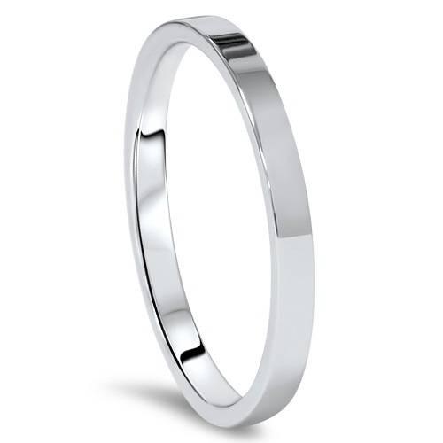 2mm Flat 14K White Gold Stacker Wedding Guard Ring Band