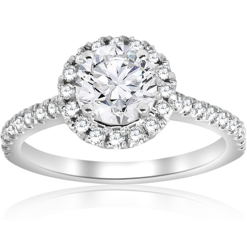 1 ct Round Diamond Halo Engagement Ring 14k White Gold ((G-H), SI(1)-SI(2))