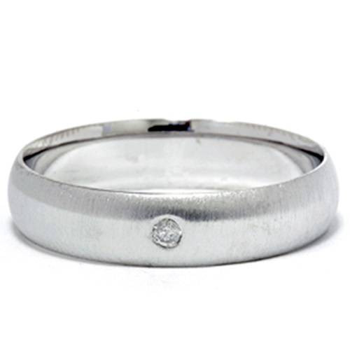 Mens Diamond Solitaire 14K White Gold Wedding Ring Band (G, SI)