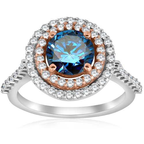 2.10ct Double Halo Blue Diamond 14k Rose & White Gold Halo Engagement Ring ((G-H), SI(1)-SI(2))
