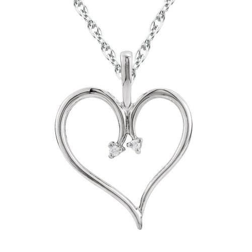 """Heart Diamond Pendant & Chain 10 Karat White Gold 1""""Tall (J-K, I2-I3)"""