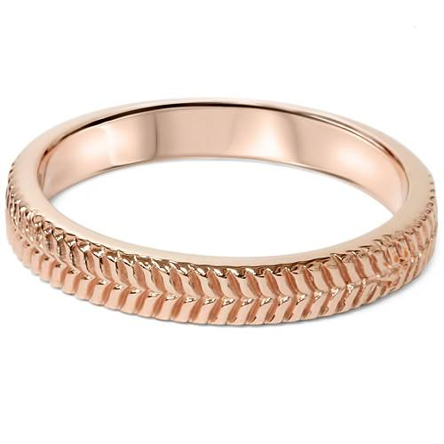 14K Rose Gold Unique Hand Carved Wedding Band