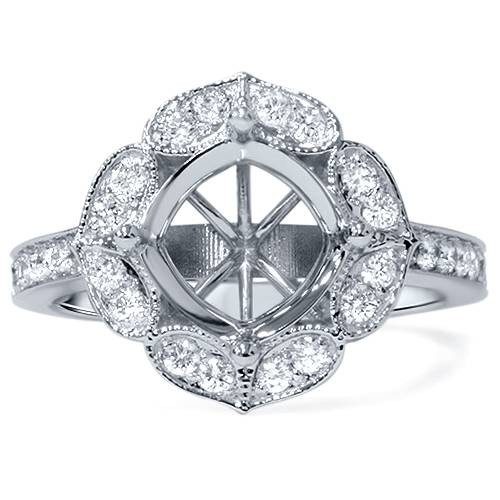 1/2ct Antique Halo Diamond Engagement Ring Setting 14K White Gold (G/H, SI1-SI2)