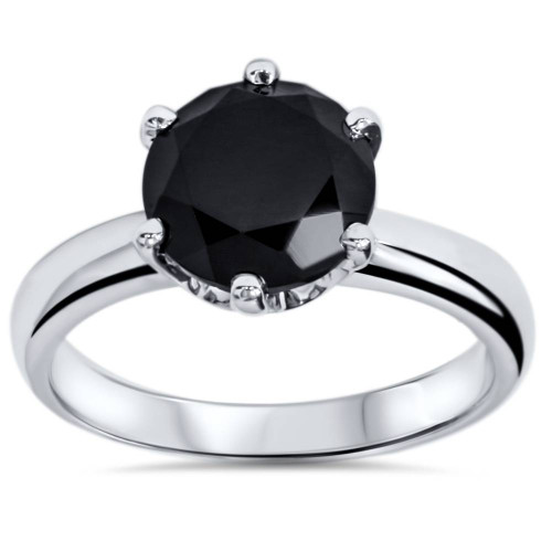 2 ct Treated Black Diamond Solitaire Engagement Ring 14K White Gold (Black, )