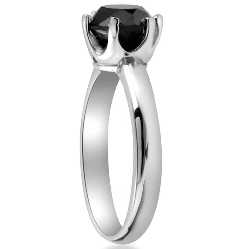 b27b007a571ab 2 ct Treated Black Diamond Solitaire Engagement Ring 14K White Gold (Black,  )
