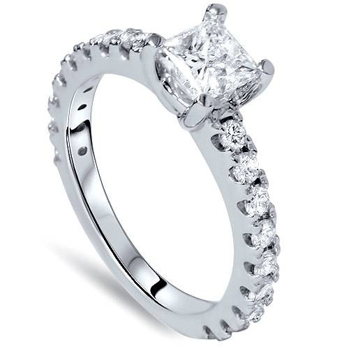 1.10CT Princess Cut Diamond Engagement Ring 14k White Gold ((G-H), SI(1)-SI(2))