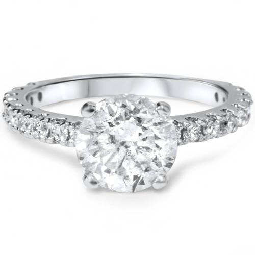 1.10CT Princess Cut Diamond Engagement Ring 14k White Gold ((G-H), SI(1)-SI(2))