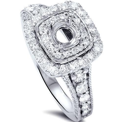1ct Double Cushion Halo Diamond Engagement Setting 14K White Gold (G/H, SI1-SI2)
