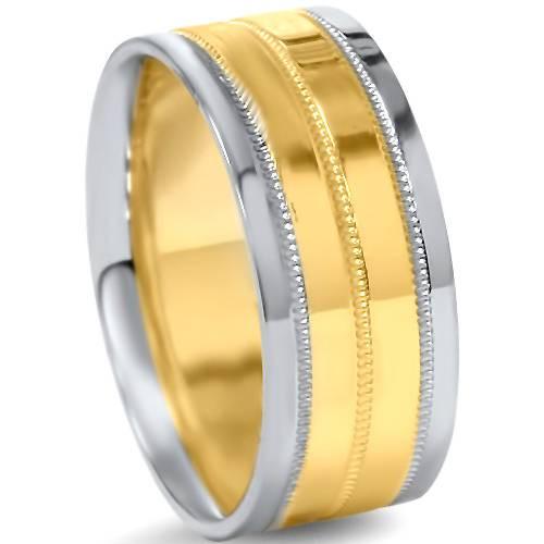 8mm Mens Two Tone Wedding Band 14K White & Yellow Gold