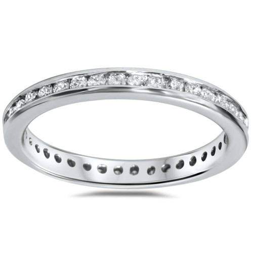 1/2ct Diamond Channel Set Eternity Ring 14K White Gold (I/J, I2-I3)