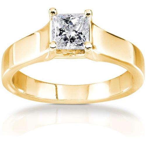 1/2ct Princess Cut Diamond Engagement Ring 14k Yellow Gold ((G-H), SI(1)-SI(2))