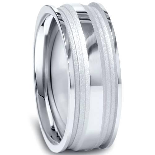 8mm Mens Hand Carved Comfort Fit Wedding Band 10K White Gold