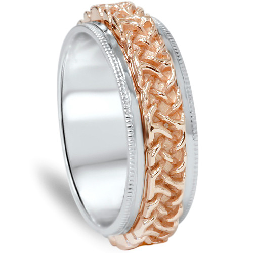 7mm Celtic Rose & White Gold Two Tone Comfort Fit Wedding Band