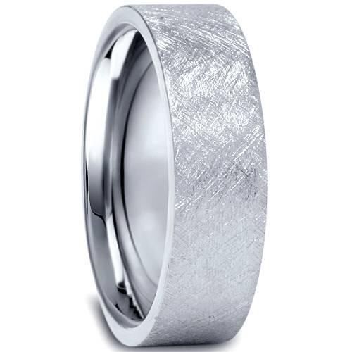 950 Platinum Mens 6mm Flat Brushed Wedding Band
