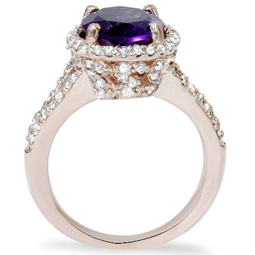 3ct Amethyst & Diamond Oval Halo Ring 14K Rose Gold (G/H, I1-I2)