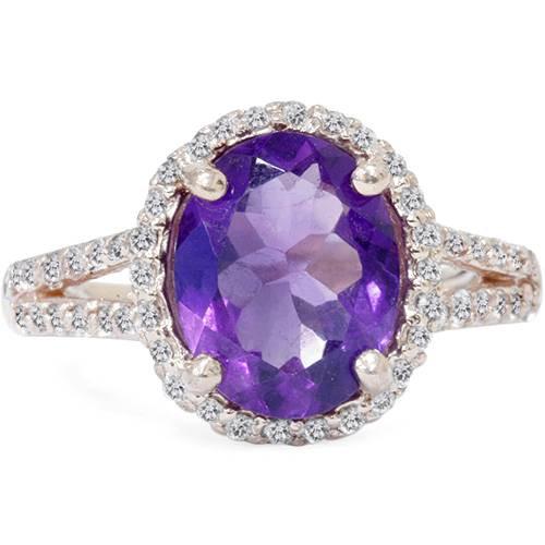 3ct Amethyst & Diamond Oval Halo Ring 14K Rose Gold (G/H, I1-I2)