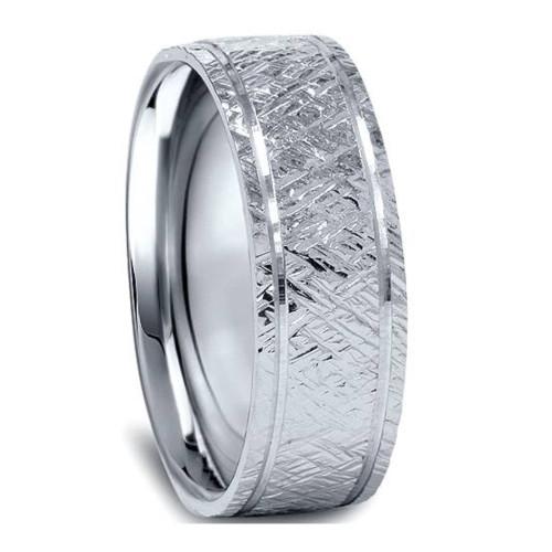 950 Platinum Mens 7mm Flat Brushed Wedding Band