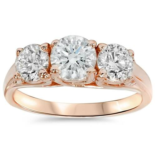 1 3/8ct 3-Stone Diamond Engagement Ring 14K Rose Gold Past Present Future (H/I, I1-I2)