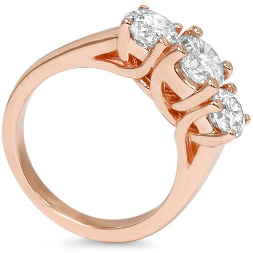 1 3/8ct 3-Stone Diamond Engagement Ring 14K Rose Gold Past Present Future (H/I, I1-I2)