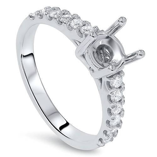 1/2ct SI Diamond Engagement Ring Mount 14K White Gold (G/H, SI1-SI2)