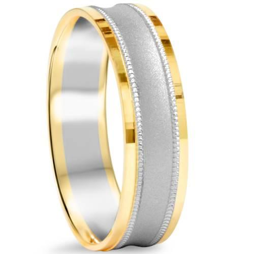 Mens 14K White & Yellow Gold Two Tone Brushed Wedding Band