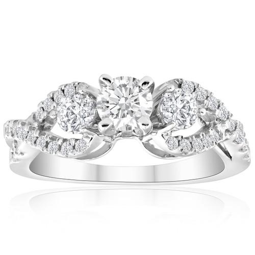 1ct Diamond Infinity Twist Engagement Ring 14K White Gold (G/H, I1)