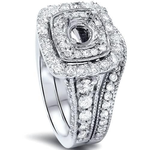 1 1/6ct Double Cushion Halo Diamond Engagement Ring Mount Set 14K White Gold (G/H, SI1-SI2)