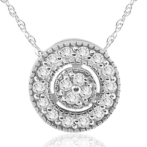 1/4 ct Diamond Pave Halo Pendant 14K White Gold Womens Disc Necklace ((G-H), SI(1)-SI(2))