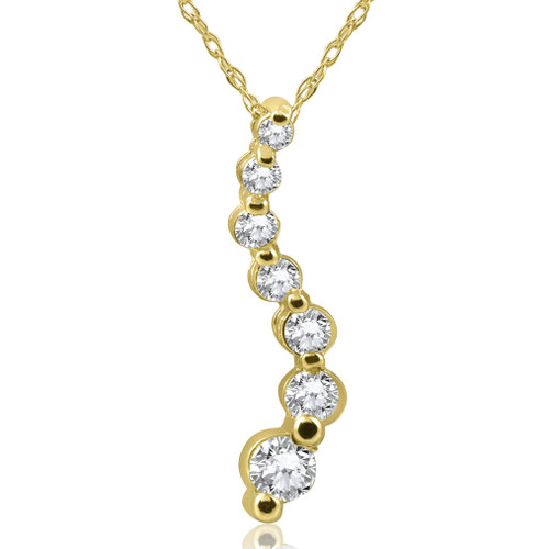 1/2ct Diamond Journey Pendant Necklace 14K Yellow Gold (G/H, I2-I3)