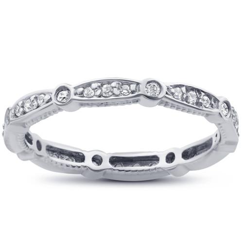 3/8ct Vintage Diamond Eternity Stackable Ring 14K White Gold (H/I, I2-I3)