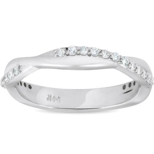1/4 ct Diamond Twisted Vine Womens Wedding Ring 14k White Gold (H/I, I1-I2)