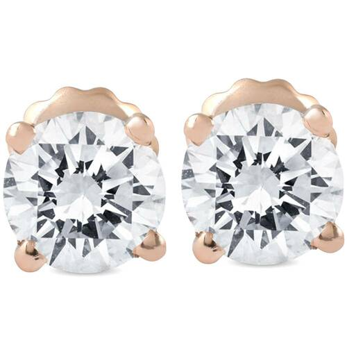 1 1/2CT Diamond Screw Back Studs Enhanced 14k Rose Gold ((G-H), SI(1)-SI(2))