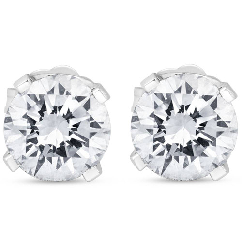 1 1/2CT Diamond Push Push Studs Enhanced 14k White Gold ((G-H), SI(1)-SI(2))
