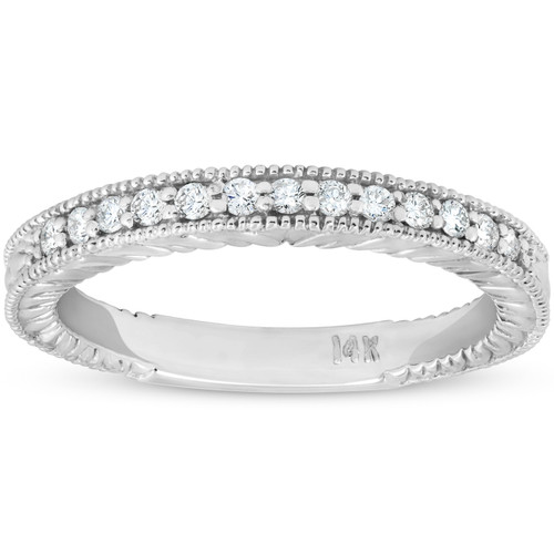 1/5ct Diamond Vintage Womens Wedding Ring Stackable 14k White Gold Band ((G-H), SI(1)-SI(2))